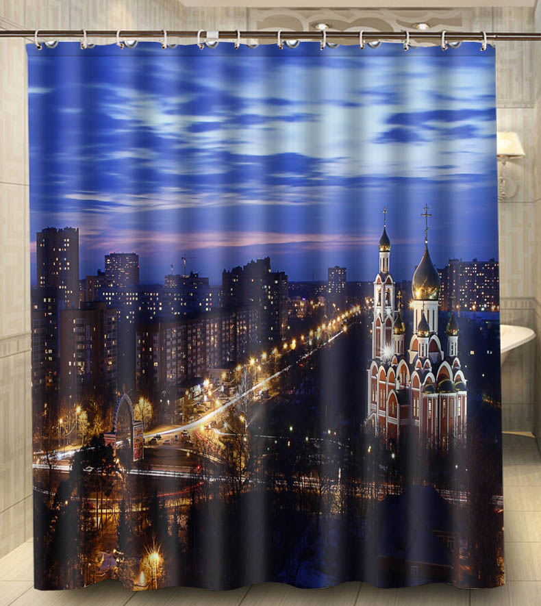 City Night cathedral View from top Russia House Decors Waterproof Fabric Bathroom Shower Curtain 150x180cm(China (Mainland))