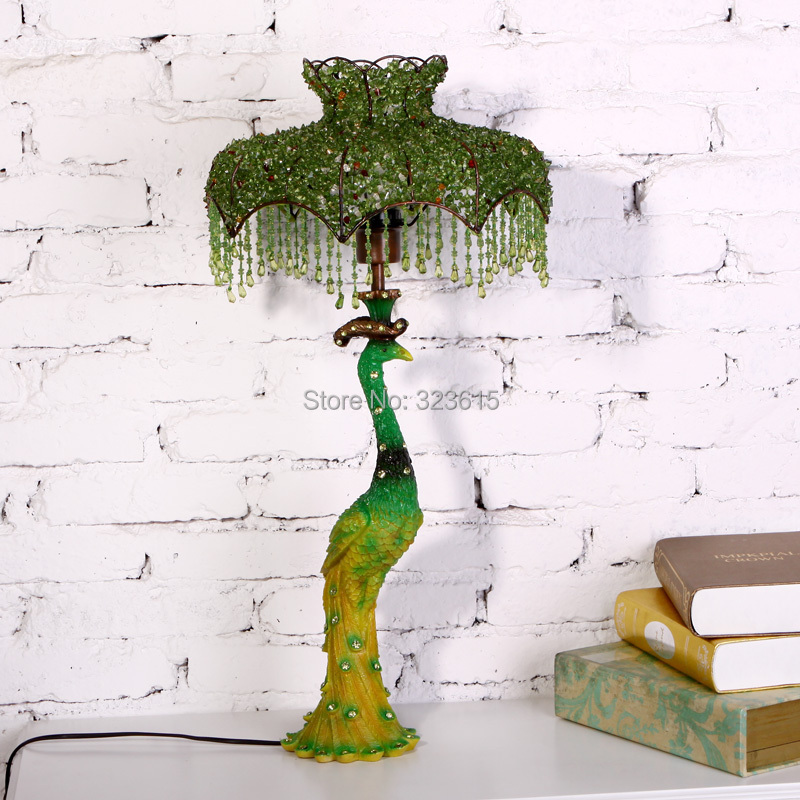 Beautiful Green Peacock Table Lamp Modern Simple Style Stained Glass Peacock Lamp Living Room Bedroom Study Resin Peacock Lamp(China (Mainland))