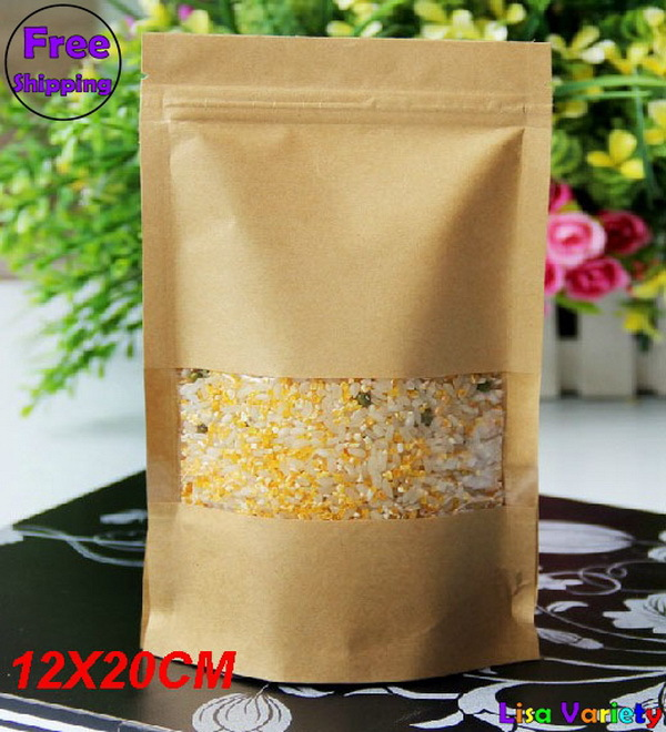 Free Shipping Kraft Paper Self-Stand Self-Sealing Food Packaging Bags With Visual Rectangle Window,12*20+4cm,100pcs/lot(China (Mainland))