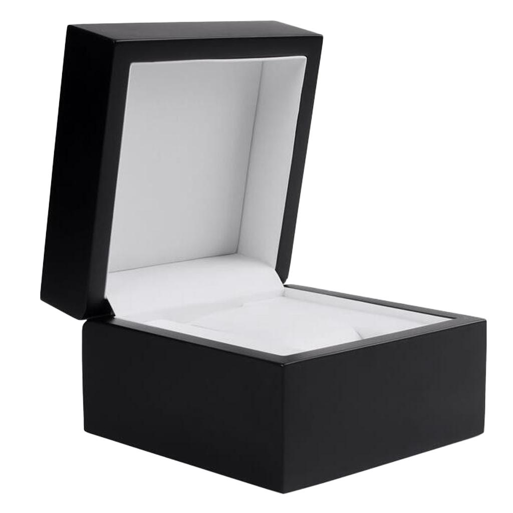 Single Grid Watch Box Wristwatch Display Case Black Wooden Box with Cushion