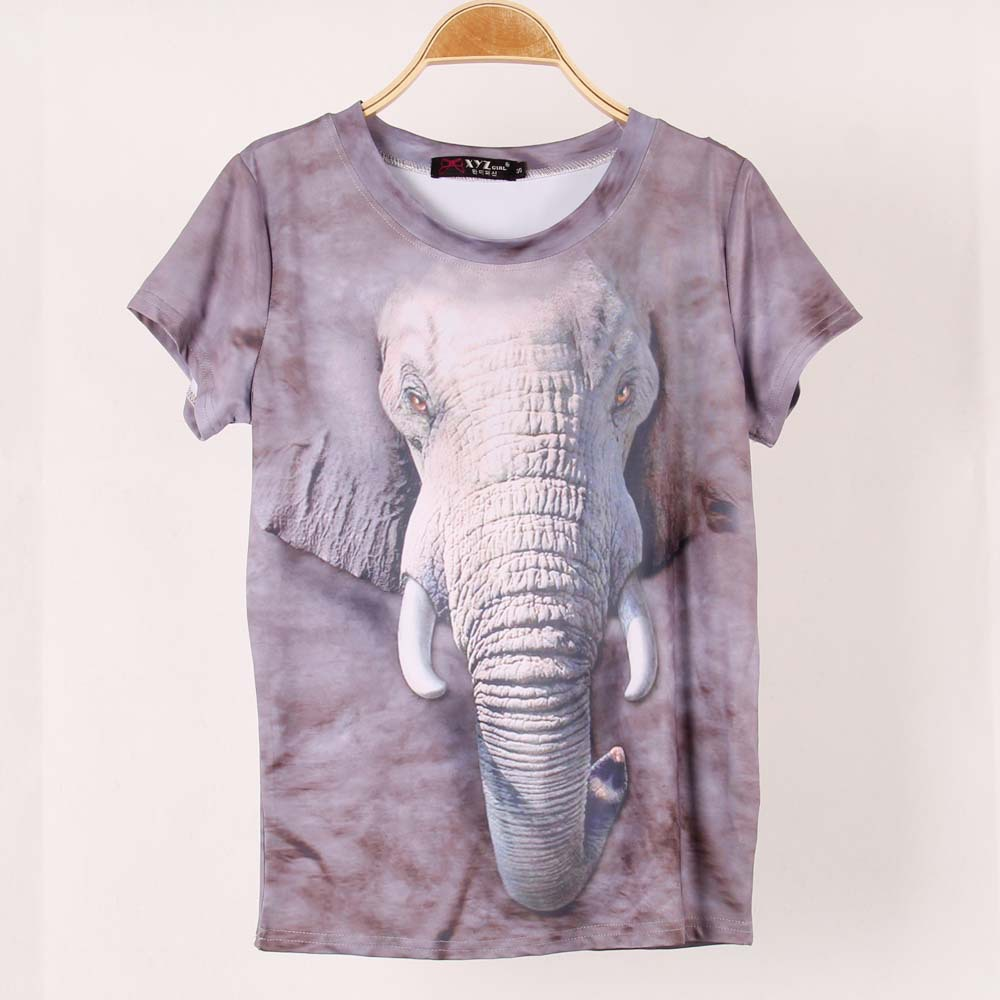 2014 new topic 1 3d printed elephant t shirt women tees for Elephant t shirt women s