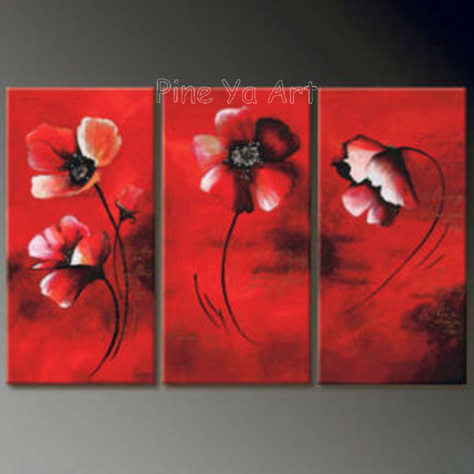 Piece Abstract Modern Canvas Wall Art Cheap Handmade Red Flower Oil