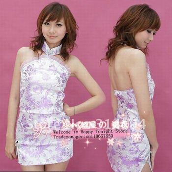 Free shipping sexy lingerie hot Satin Charming Cheongsam sexy costumes with Infinite enticement