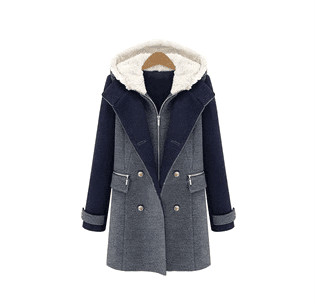 2015 Winter New Double Breasted Wool Coat Splice Color Long-sleeve Slim Casual Plus size S-3XL - Whats Apparel store