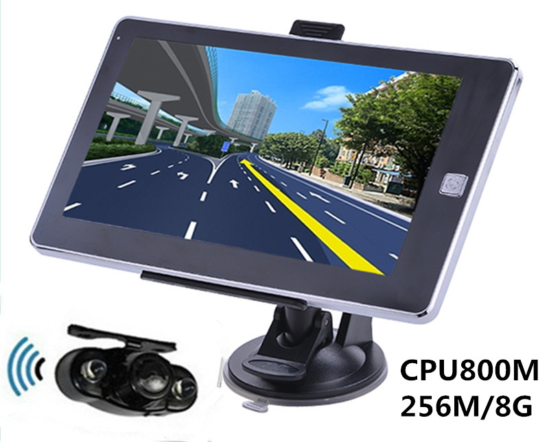 Reverse Parking System,7 inch Vehicle GPS Navigation 256M/8GB CPU800Mhz+Wireless Rear View camera+free latest maps(China (Mainland))