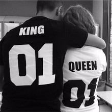 2016 New Women Men Lovers Tshirt Summer Style 100% Cotton Short Sleeve T Shirt King Queen Print Black White Top Tee Size S-3XL