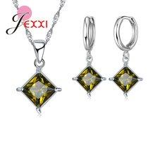 Простой Настоящее серебро 925 проба квадратное хрустальное ожерелье серьги набор 8 цветов вариант для женщин Свадебные аксессуары Lxury(China)