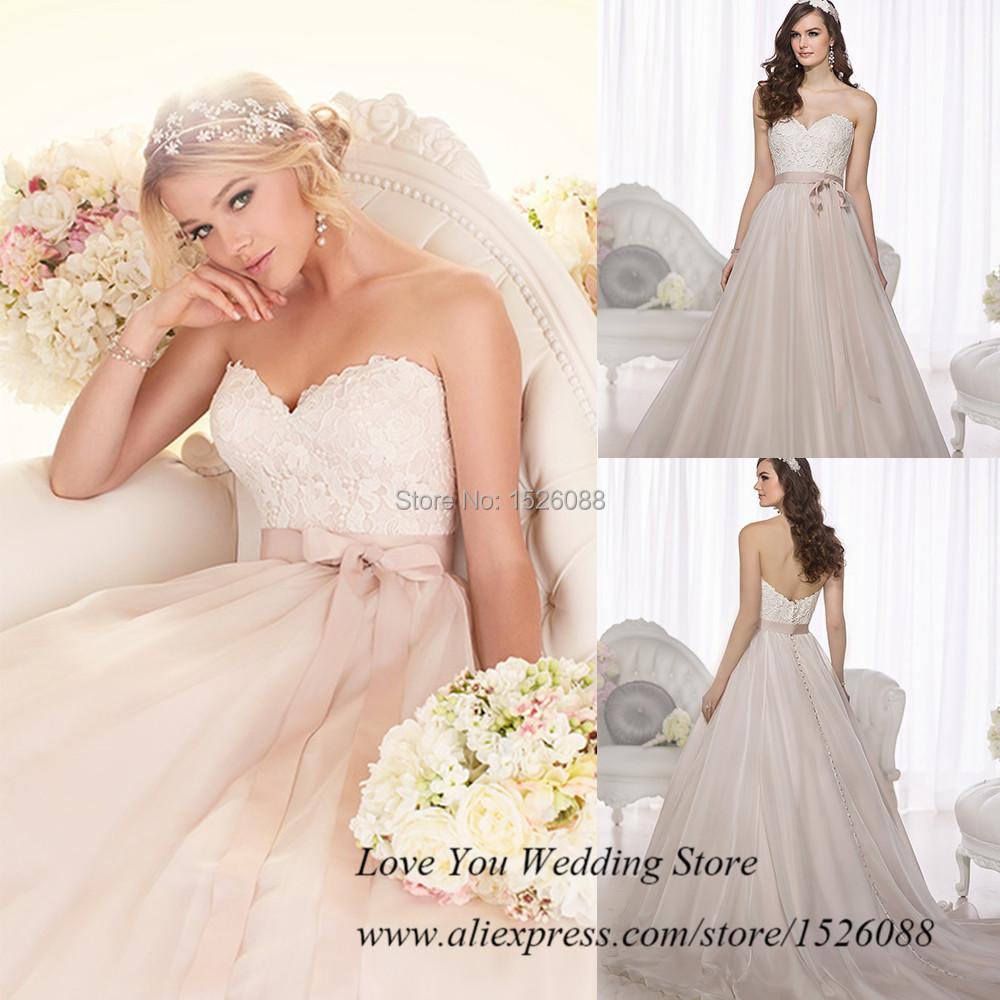 Vintage boho wedding dress 2015 lace pink bridal gown for Pink vintage wedding dress