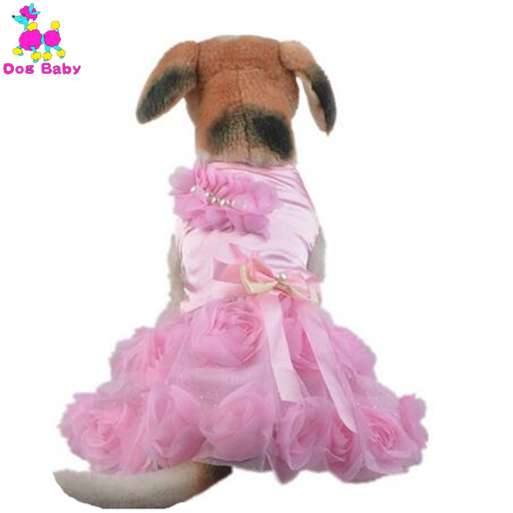 Dog Cat Dresses Spring Summer Cotton Dog Clothes Rose Bow Design Party Pet Dress Hot Pink & Purple Summer Lace Dress For Dog(China (Mainland))
