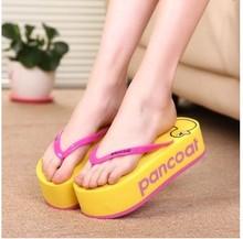 2016 летние сандалии женщин высокие каблуки платформы шлепки клинья тапочки девушки мода симпатичный мультфильм китти пляжная обувь