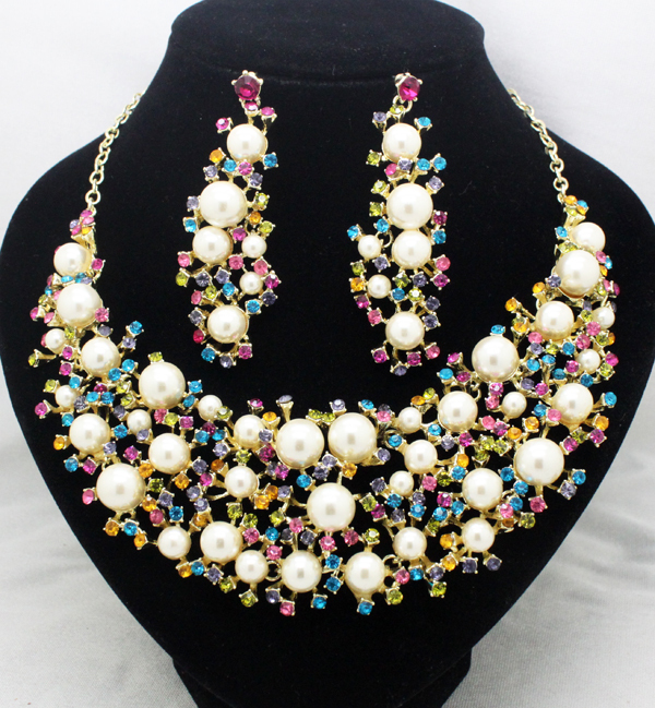 Classic newest brand pearl rhinestone luxury wedding jewelry sets party Bridal necklace earring gifts - Yiwu Gebu Jewelry factory store