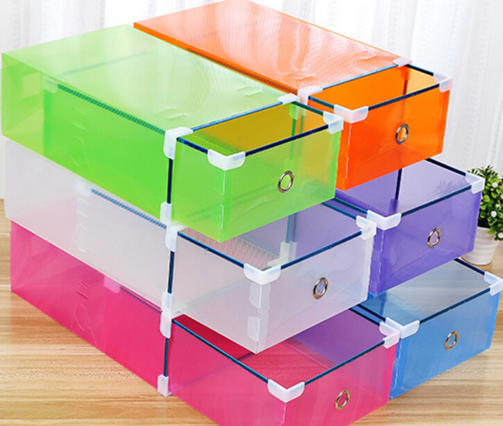 1 Piece Candy color Metal-edged Drawer Type Plastic storage box Storage Shoe Box Transparent Shoebox Shoe Box(China (Mainland))