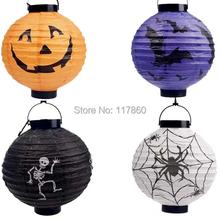 Halloween decorations Halloween lantern pumpkin pumpkin hanging paper lanterns portable (with battery, color random delivery)(China (Mainland))