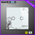 MakeGood New Design Glass Panel Touch Light Switch Wall Switches 2 Gang 2 Way with blue