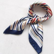 2015 New Arrival Fashion Blue Streak Women Polyester Small Square Scarf Printed,British Style Brand Casual Silk Scarf 52*52cm(China (Mainland))