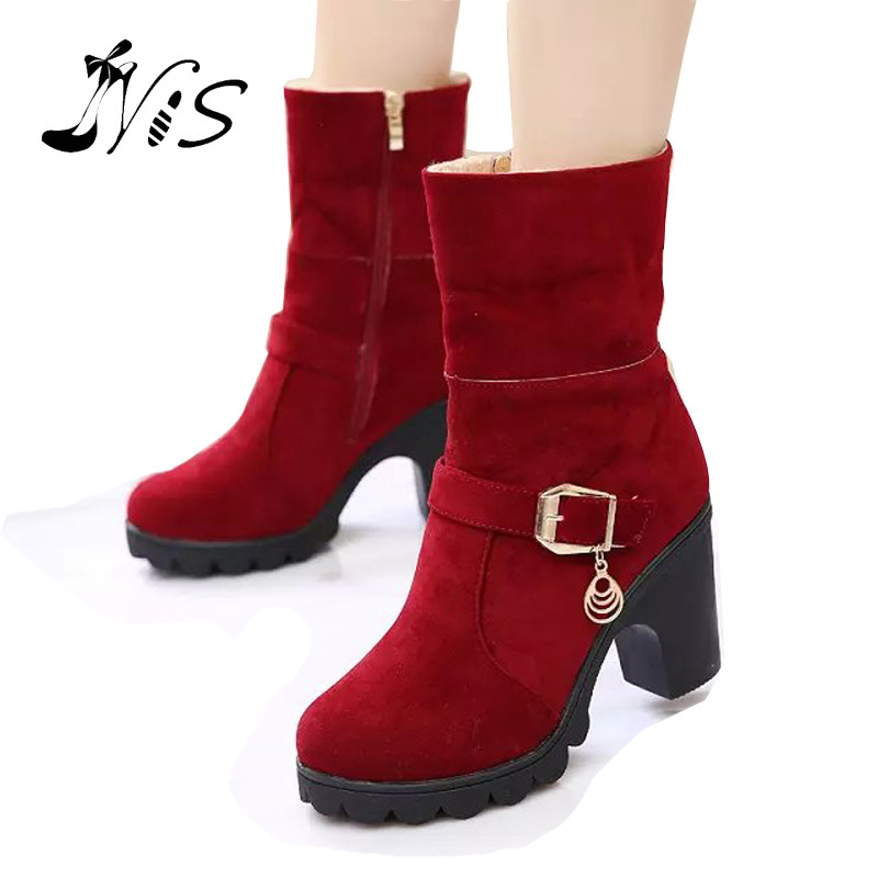 Hot Sale Autumn Winter Women Mid-Calf Boots Two Wear Shoes High Block Heel Ankle Boot Bootie Fashion Ladies Retro Botas Shoe<br><br>Aliexpress