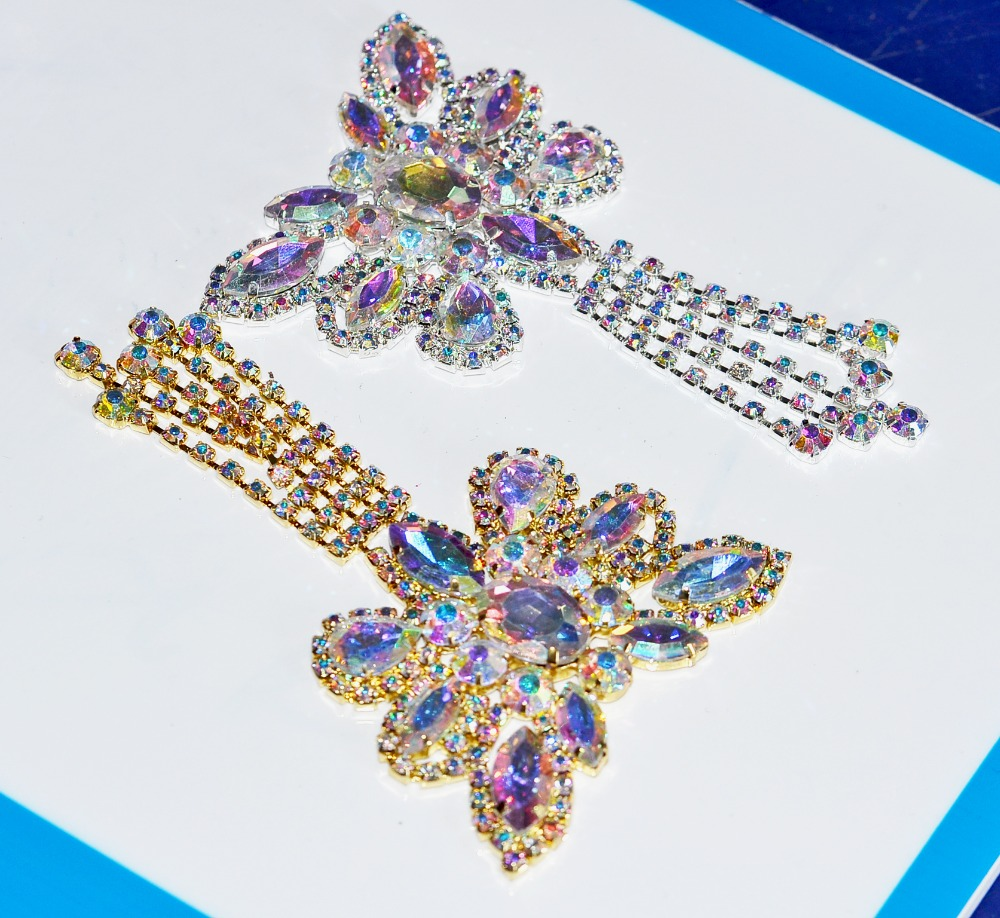 10.6x6.8cm1pcs Dazzling Glass Material High Quality Strass silver and gold Applique For Wedding Decoration Sewing On Applique(China (Mainland))