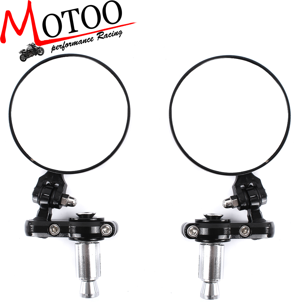 Motoo - Motorcycle adjustable CNC Aluminum Rearview Mirror Handle bar End Black Side motorcycle parts co., LTD store
