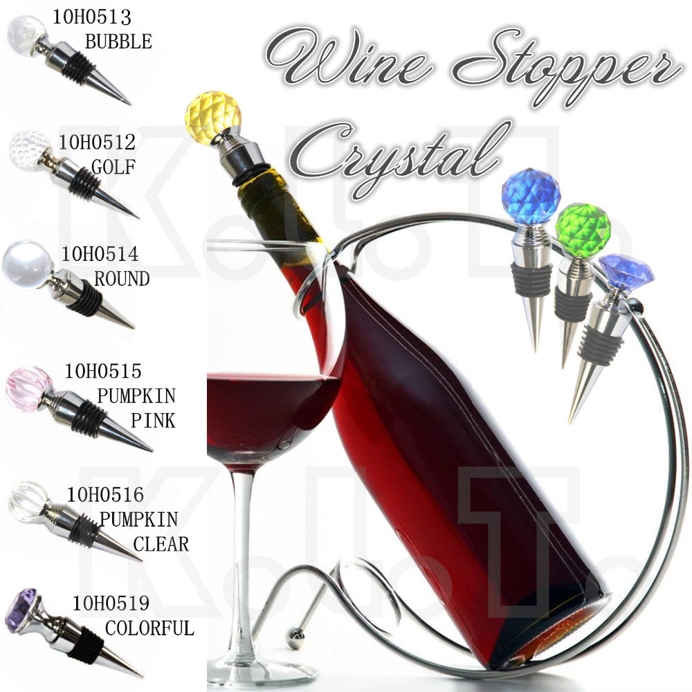 Crystal Glass Golf ball Various Wine Cork Corkscrew Wine Bottle Stopper Oxygenating Wine Pourer Tie Plug Bung Stopper PUMPKIN(China (Mainland))