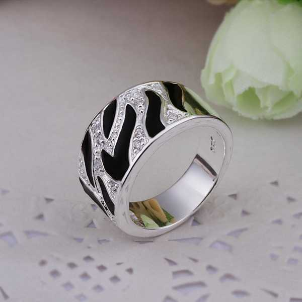 Free Shipping online shopping india silver plated ring Black and white pattern opal summer jewelry(China (Mainland))
