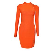 2017 летние turleneck молнии спереди Вечеринка мини-платье Сексуальная без рукавов orange Для женщин Bodycon повязки платья Vestidos(China)