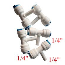 """Buy 5pcs RO Water Reverse Osmosis Aquarium System Connector Fitting 1/4"""" OD Quick Connection 1/4"""" Pipe Type T Connector ROST-2-2-S2 for $4.55 in AliExpress store"""