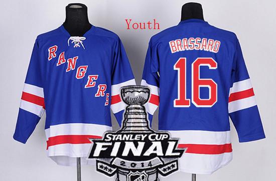 Youth #16 Derick Brassard blue Ice Hockey Jerseys 2014 Stanley Cup Finals Patch New York Rangers Kids Size S/M L/XL - World Co. Ltd store