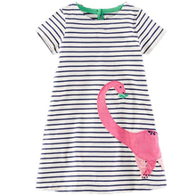 Baby Girl Dress with Animals Applique 2017 Summer Elsa Princess Dresses Kids Clothing 100% Cotton Children Costume Girls Clothes(China (Mainland))
