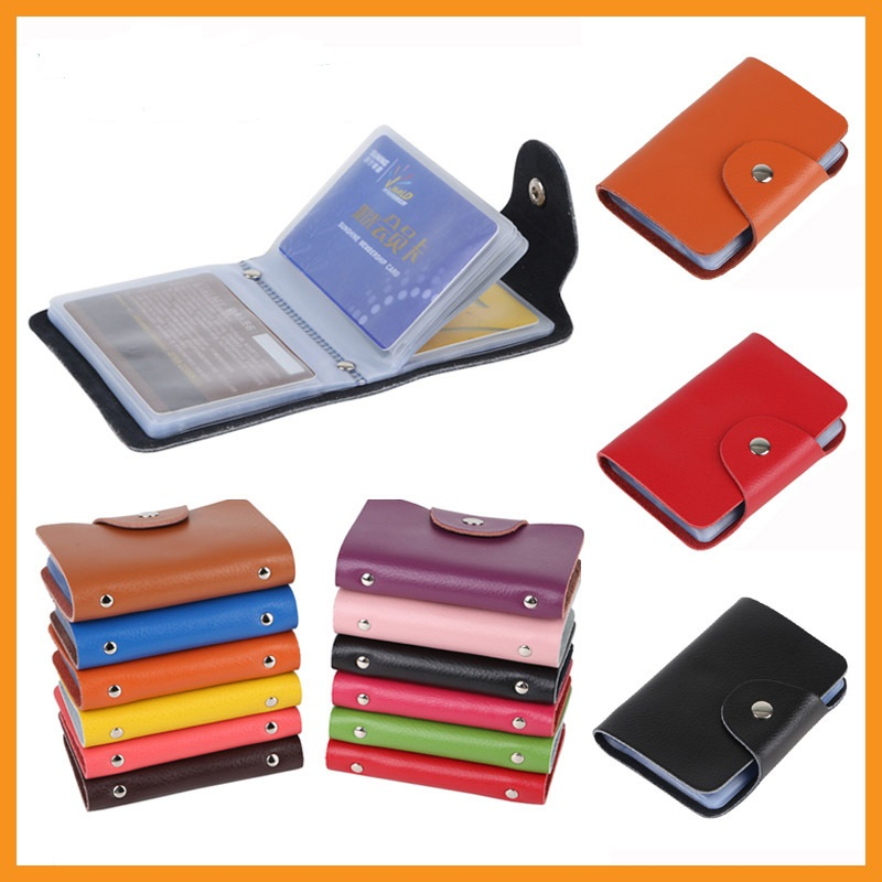 New 26 Slots Genuine Leather Women Men Card Holder Card Wallet Purse Credit Card Business Card Holder Protector Organizer DC29(China (Mainland))
