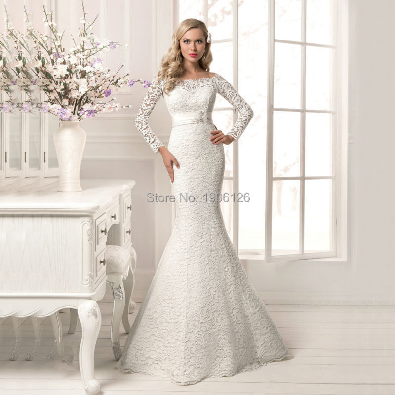 Buy spring full lace mermaid long sleeve for Long sleeve lace wedding dresses for sale