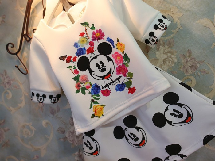 Girls clothing sets summer 2015 minnie skirt+white shirt  top kids suit teenage girl's outfit fashion girl dress set