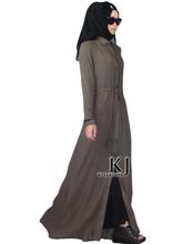 Rayon+ linen outer wear islamic clothing long sleeve maxi dress hijab 20150806, Rayon jumper skirt muslim women dress D20150701(China)