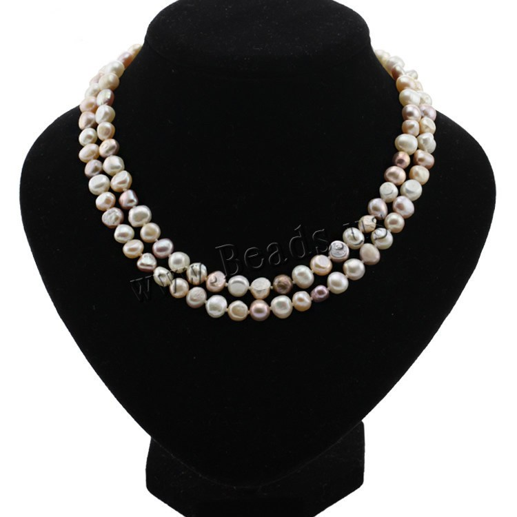 100% Freshwater Pearl Necklace For Women White Natural Pearls Jewelry necklace cultured freshwater pearl necklace jewellery(China (Mainland))