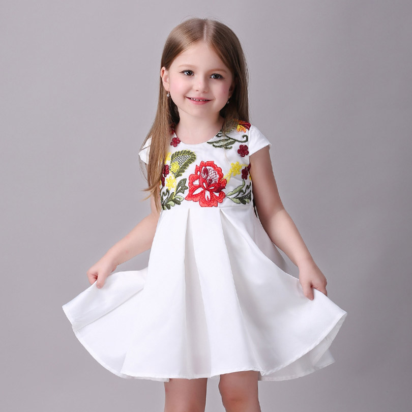 2016 New Girls Wedding Party Dresses Summer Winter Flower Party Princess Dress Elegant Baby Girl Clothes 3- 8 Years(China (Mainland))