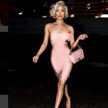 Buy 2017 Elegant Party Summer Bandage Dress Women One-Shoulder Strapless Knee-Length Black Dress Celebrity Party Bandage Dresses for $28.52 in AliExpress store
