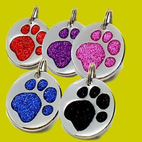 Custom Pet ID Tag, Quality Reflective Glitter Dog Paw Tags ENGRAVED low price engraved pet tags FH890333(China (Mainland))