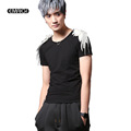Male Feather Short Sleeve T shirt Men Punk Gothic Fashion Show Slim Fit Tees Shirts Stage