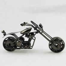 1pc 21cm Antique Motorcycle Model Handmade Metal Craft Black Color Screw Gear Craft Home Decor Business Boy Father's Gift M121A(China (Mainland))
