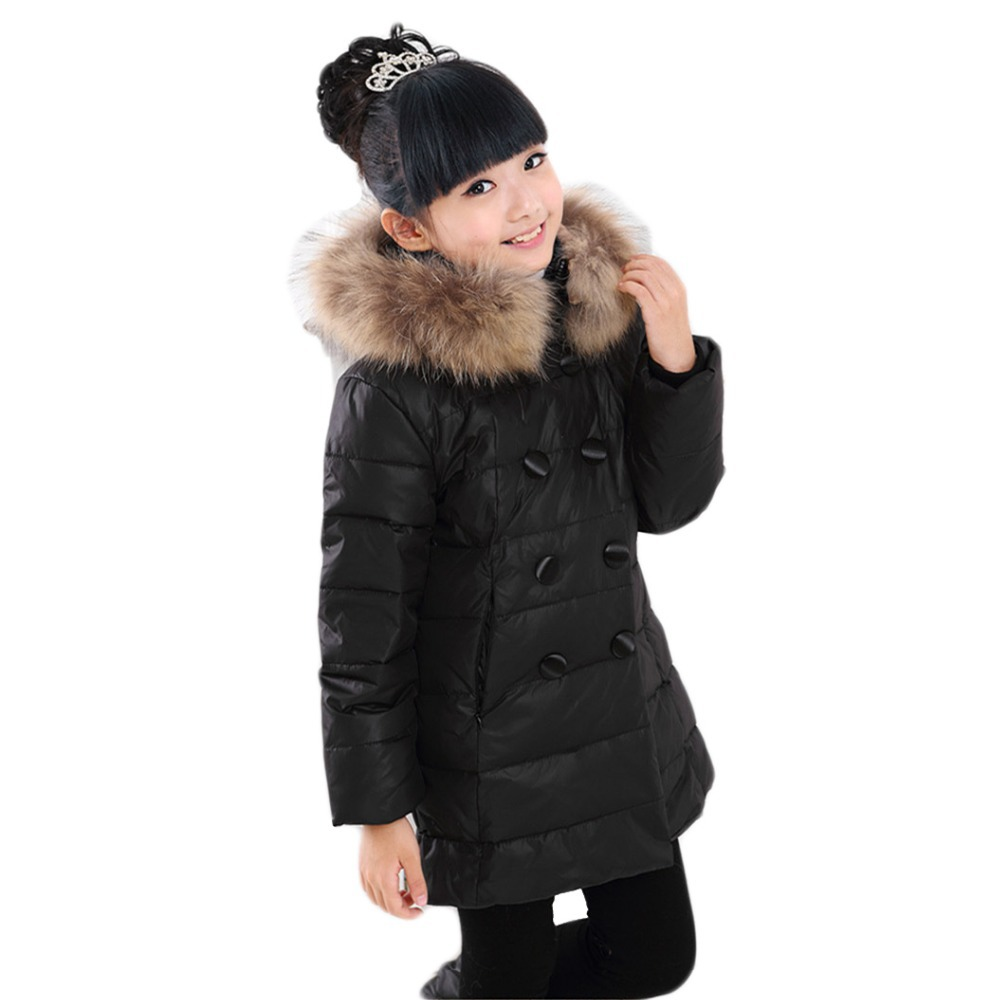 Fashion girls jackets 2015 winter large child medium-long double breasted thick duck coats kids girl fur collar warm parkas - Beauty Life Online Store:208399 store