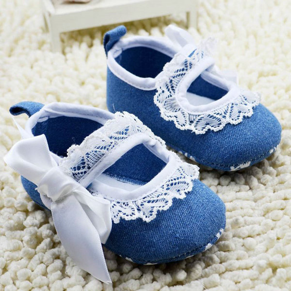 Brand New Baby Girls Bowknot Blue Soft Sole Crib Shoes Infants Anti Slip Lace Floral Dress Shoes Prewalker 0-18M