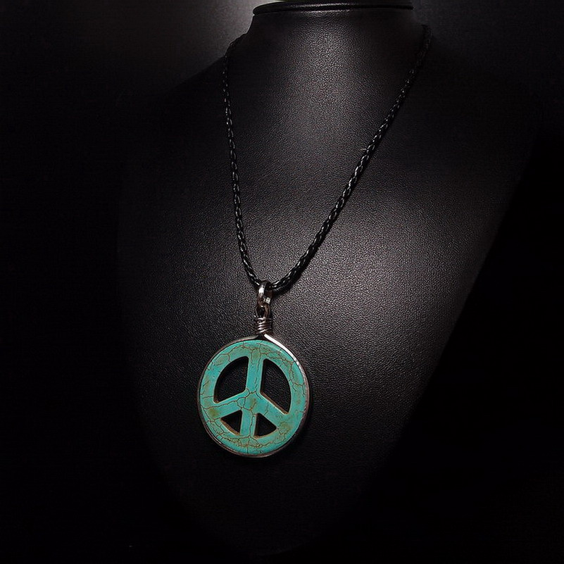 Long Vintage Peace Necklace For Women Metta Word Precious Stone Charms Peace Pendant Big Turquoise Jewelry Sign Peace Necklace(China (Mainland))