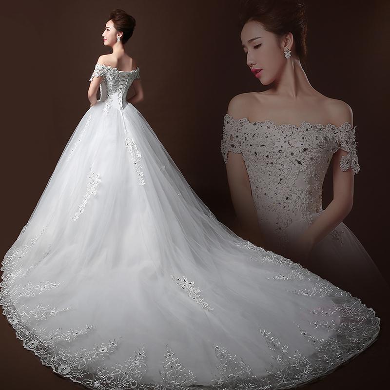 Top Luxury Wedding Dress : Luxury long big train tube top crystal wedding dress