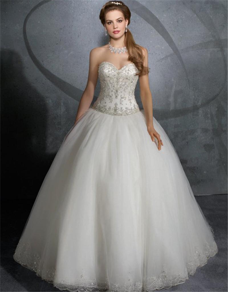 Hot New Elegant Ball Gown Bridal Gowns Beaded Sweetheart Appliqued Lace Wedding Dresses vestido de noiva 2015 princesa Custom