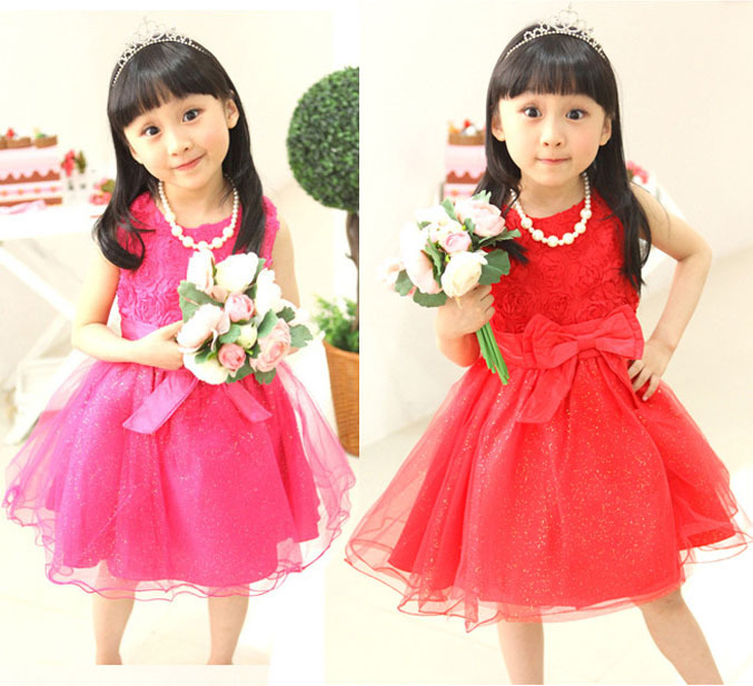 [Lucky Clover],1piece,retail,KD-0026-12,beautiful girls dress,girl party dress 2 colors(rosy,red) - Lucky clover store