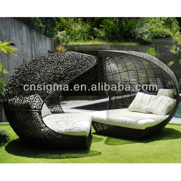 2014 Design Furniture PE Rattan Synthetic Wicker Daybed Outdoor Sun Lounge In