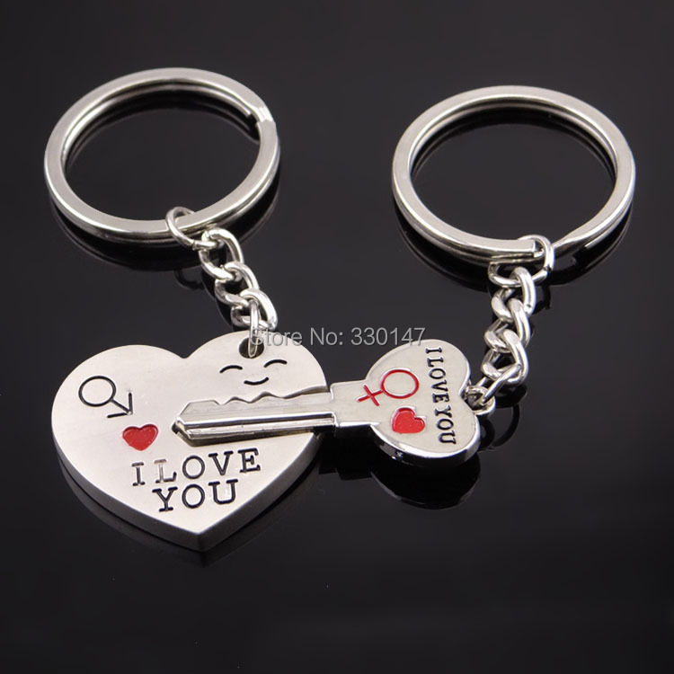 1 Pair Keychain Heart Smile Shape Lovers Obsequios Boda Wedding Favors And Gifts Wedding Souvenirs Party Supplies Free Shipping(China (Mainland))