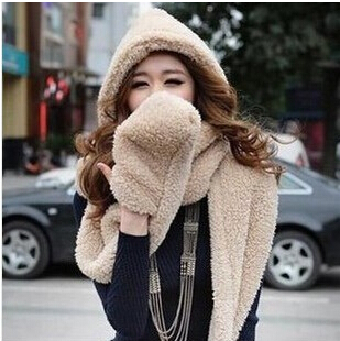 2014Special Korean Women winter scarf lovely double-thick wool scarves with hats and gloves Black/White/Yellow/Blue/Red/Khaki(China (Mainland))