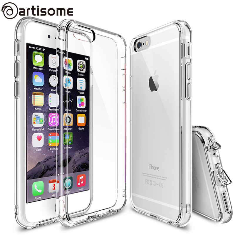 Anti-knock Case For iPhone 6 / 6 Plus Hybrid Clear Acrylic + Silicone TPU Phone Bag Cover Case For iPhone 6S / 6S Plus ARTISOME(China (Mainland))