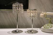 Continental Iron Crystal Candlestick Romantic Candlelight dinner Home Candle Holder Decoration 1set=2 pcs candlestick(China (Mainland))