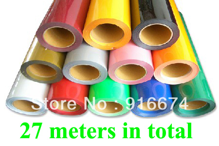 Fast Free shipping DISCOUNT 27 meters PU vinyl for heat transfer heat press cutting plotter 0.5*27m 27 colors(China (Mainland))